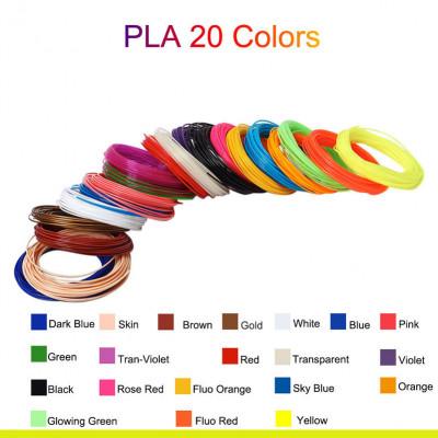 L3DT sada filamentů PLA pro 3D pera, 20 barev, 5m, mix
