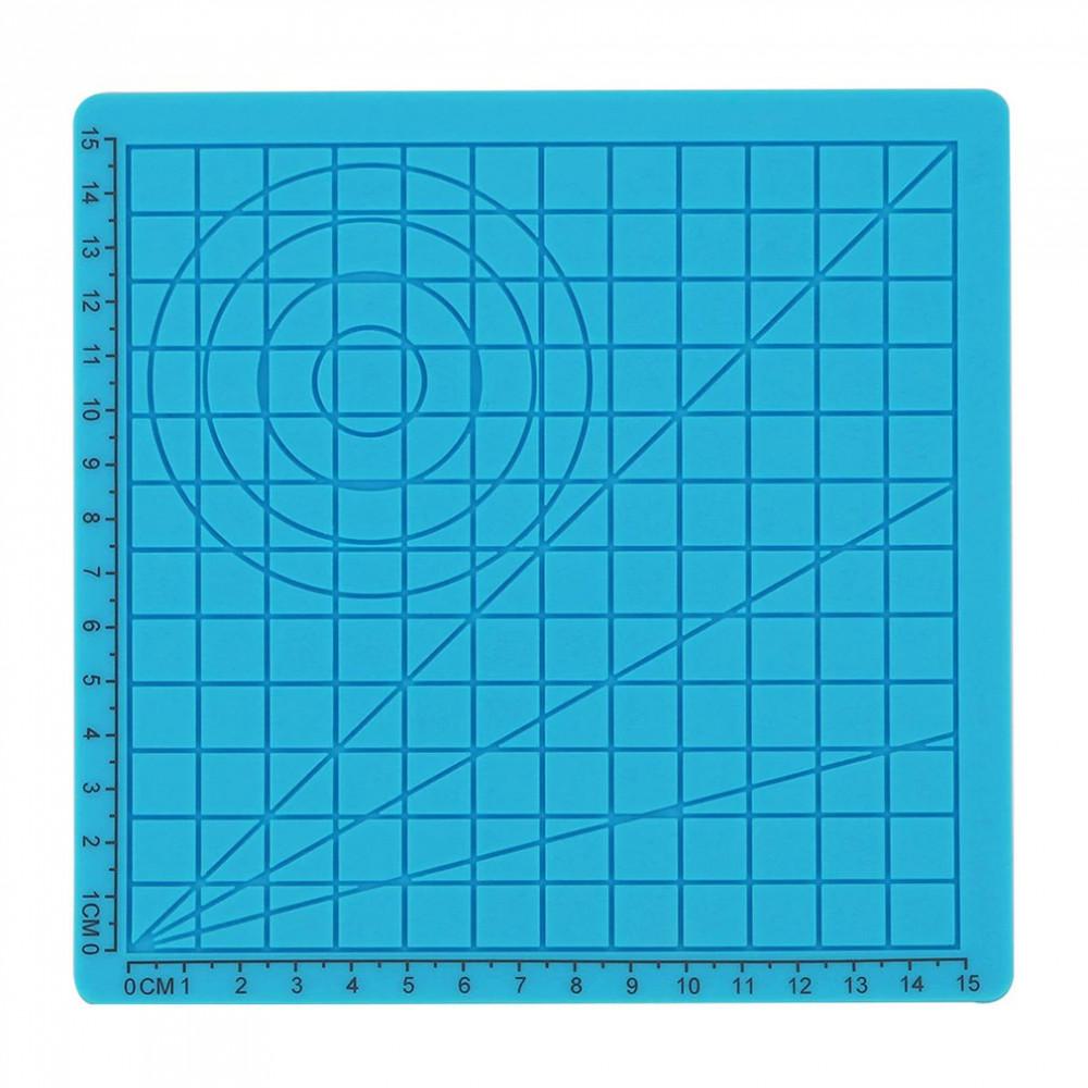 Podložka pro 3D pero, silikonová, modrá, 17x17cm, 2x chránič prstů, verze A, 3DSPADAB