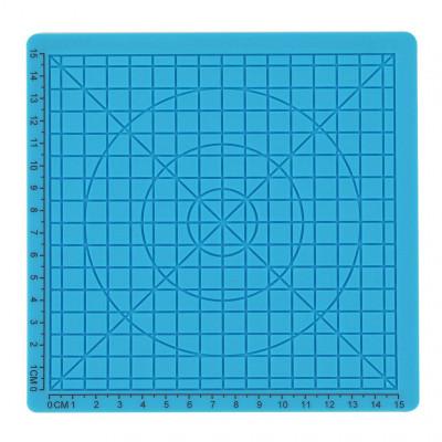 Podložka pro 3D pero, silikonová, modrá, 17x17cm, 2x chránič prstů, verze B, 3DSPADBB