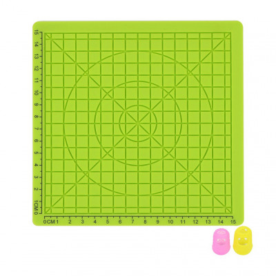 Podložka pre 3D pero, silikónová, zelená, 17x17cm, 2x chránič prstov, verzia B, 3DSPADBG