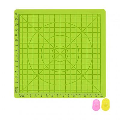Podložka pro 3D pero, silikonová, zelená, 17x17cm, 2x chránič prstů, verze B, 3DSPADBG