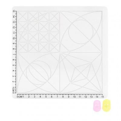 Podložka pro 3D pero, silikonová, bílá, 17x17cm, 2x chránič prstů, verze C, 3DSPADCW